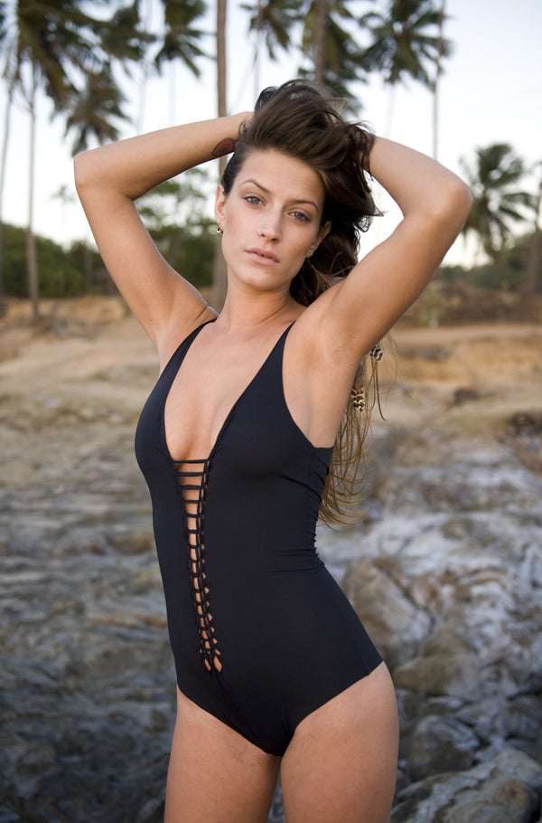 "Black One Piece Swimsuit For Women ""CLASSIC"" (Lycra Fabric) - One Piece - [By Goa Magic Fashion]"
