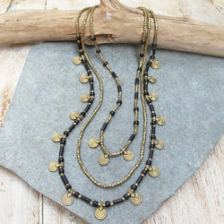 Black and Brass Necklace, Body Jewelry BY Artjuna Jewelry - goa-magic-fashion
