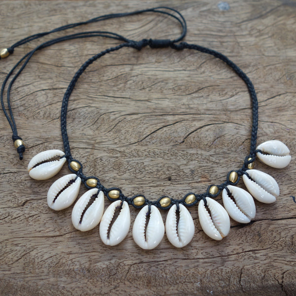 Tassel Cowrie Shell Choker Necklace, Body Jewelry BY Artjuna Jewelry - goa-magic-fashion