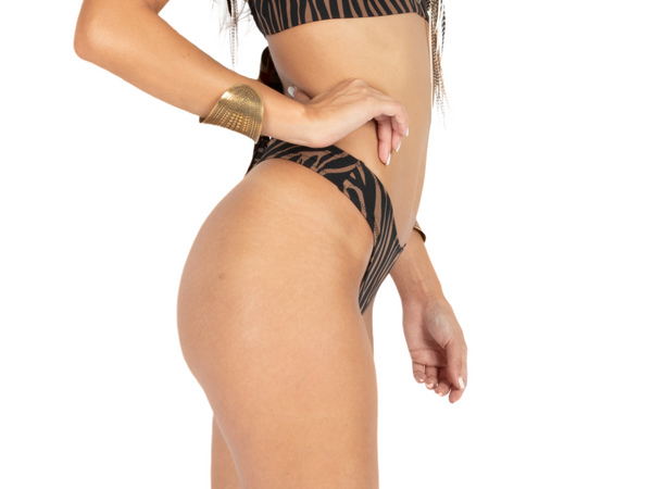 "Thong For Women ""GAL"" In Brown & Black Print - goa-magic-fashion"