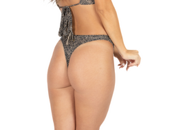 "Thong For Women ""GAL"" In Printed Black On Nude"