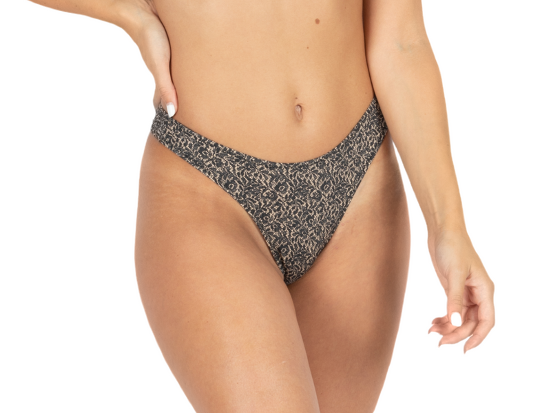 "Thong For Women ""GAL"" In Printed Black On Nude - goa-magic-fashion"