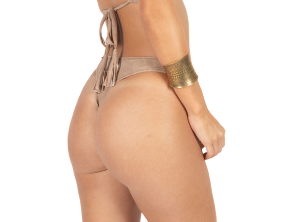 "Thong For Women ""GAL"" In Suede Nude (Light Beige) Color - goa-magic-fashion"