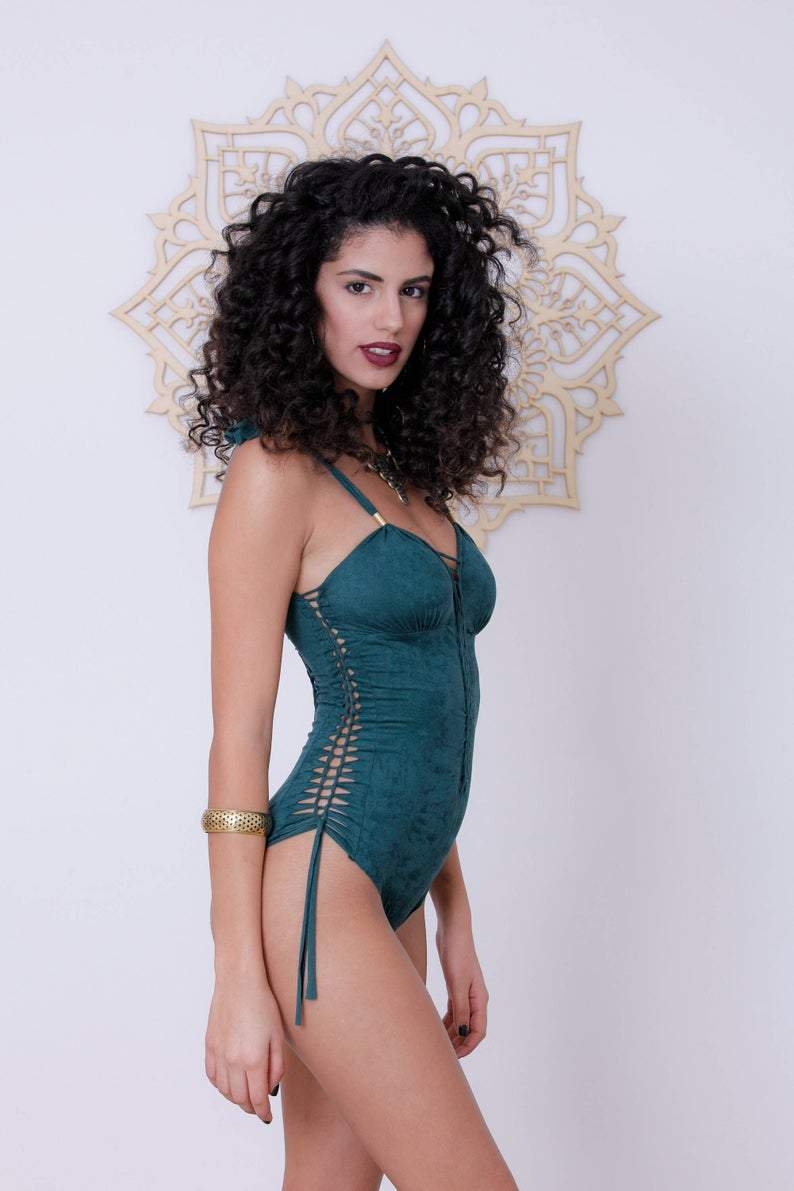 "Suede Look Green One Piece Swimsuit For Women ""DELI"" - One Piece - [By Goa Magic Fashion]"