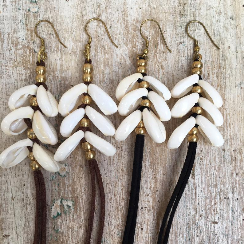 Double Cowrie Shell Earrings, Body Jewelry BY Artjuna Jewelry - goa-magic-fashion