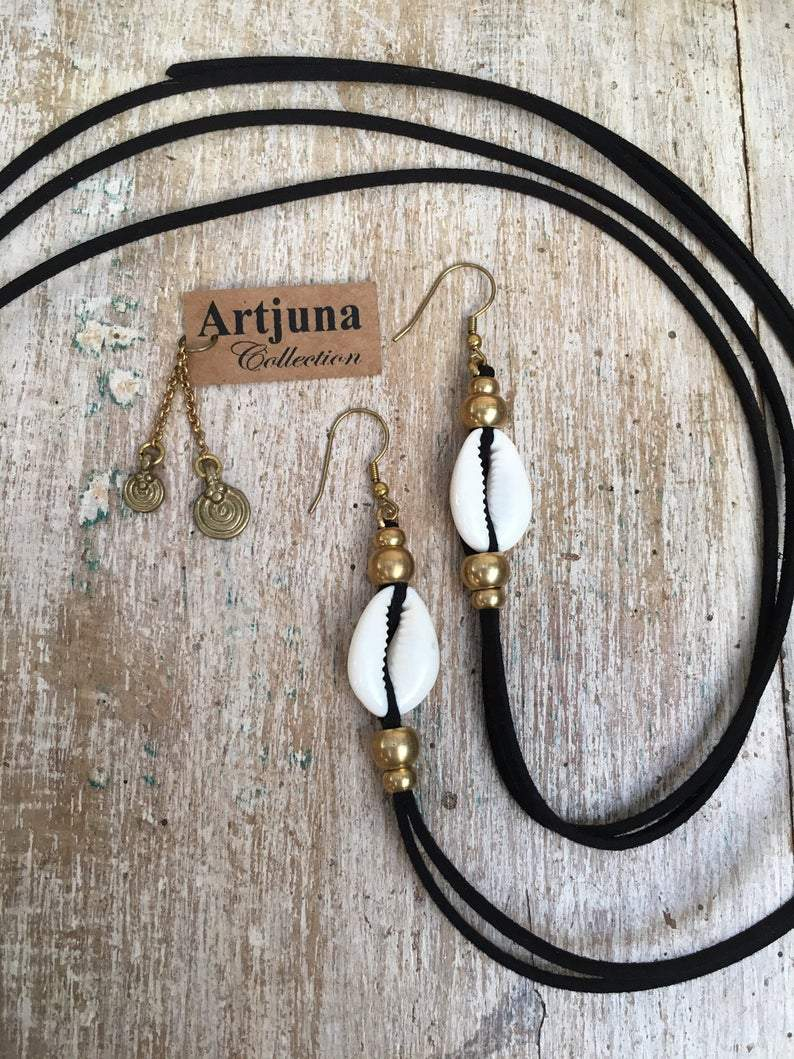 Cowrie Shell Earrings, Body Jewelry BY Artjuna Jewelry - Earrings - [By Goa Magic Fashion]