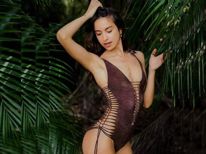 "Shabby Brown One Piece Swimsuit For Women ""SIDE"" (Lycra Fabric) - goa-magic-fashion"