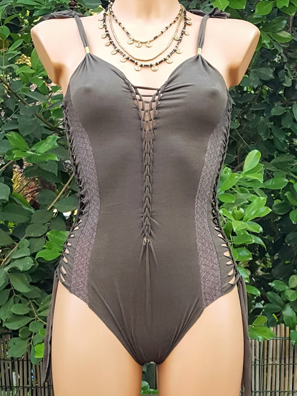 Clearance - Suede Look Dark Khaki Swimsuit For Women