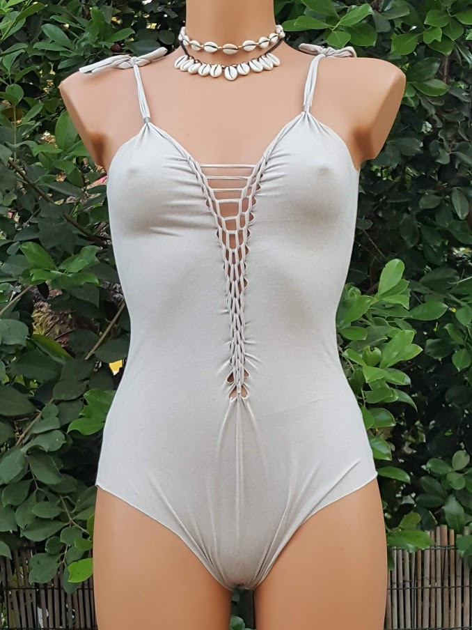 Clearance - Suede Look Beige/Cream Bathing-Suit For Women