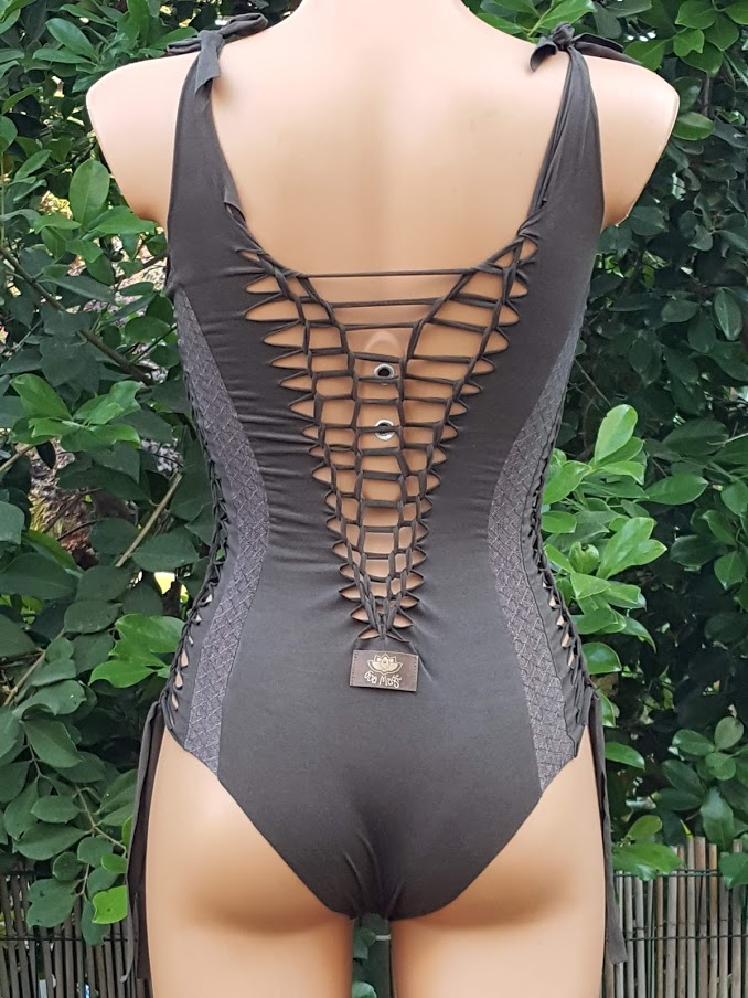Clearance - Suede Look Dark Khaki Combo Bathing-Suit For Women