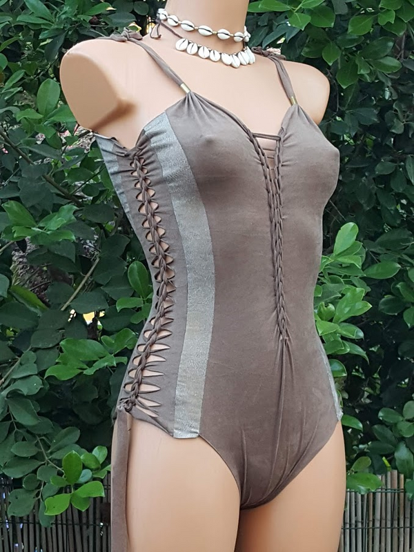 Clearance - Suede Look Beige And Golden Combo Bathing-Suit For Women