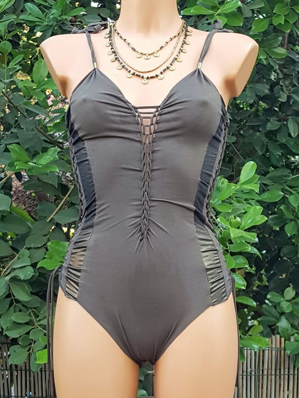 Clearance - Suede Look Dark Metallic Khaki Bathing-Suit For Women