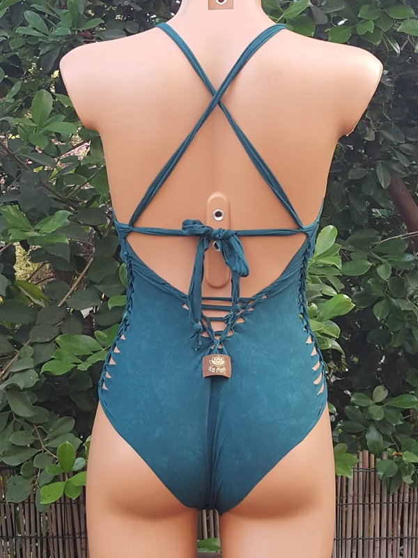 Clearance - Teal Bathing-Suit For Women (Lycra Fabric)