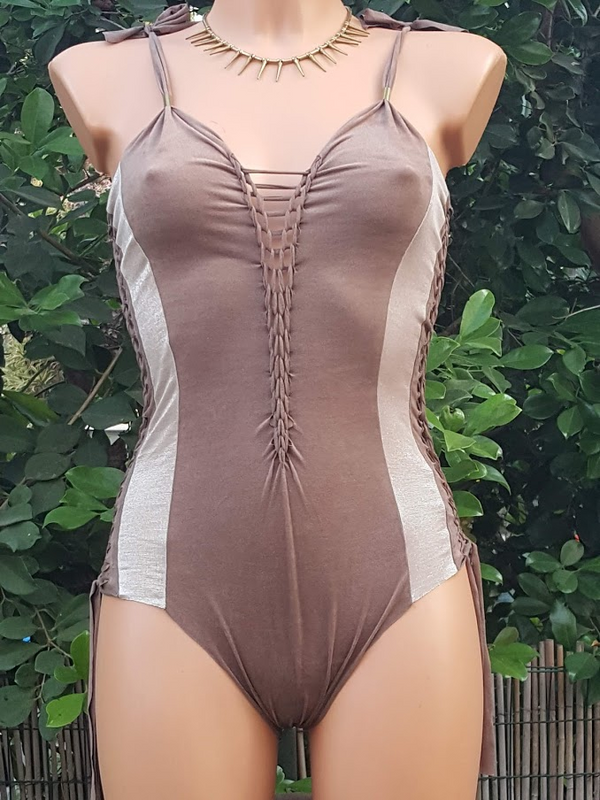 Clearance - Suede Look Brown And Metallic Bathing-Suit For Women