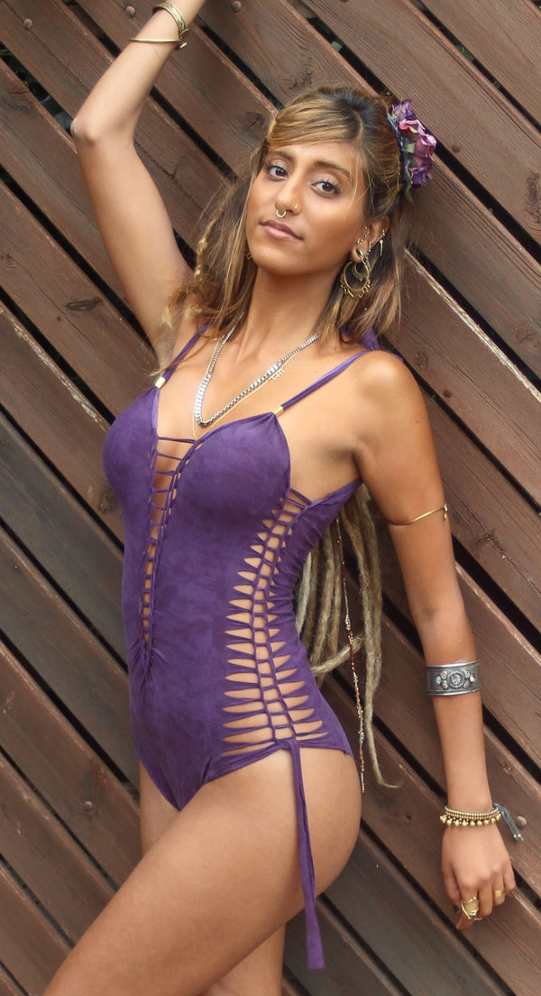 "Shabby Purple One Piece Swimsuit For Women ""SIDE"" - One Piece - [By Goa Magic Fashion]"