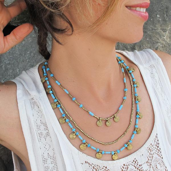 Turquoise and Brass Necklace, Body Jewelry BY Artjuna Jewelry - goa-magic-fashion
