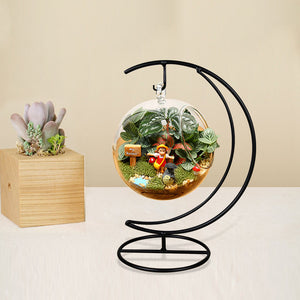 Hanging Vase Stand Moon Shaped - Black - The MOJO