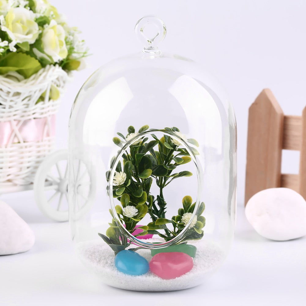Clear Glass Capsule Shaped Hanging Vase - The MOJO