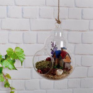 Clear Glass Heavy Bottom Shaped Hanging Vase - The MOJO