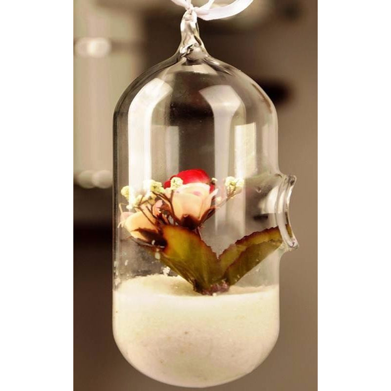 Clear Glass Cylinder Shaped Hanging Vase - The MOJO