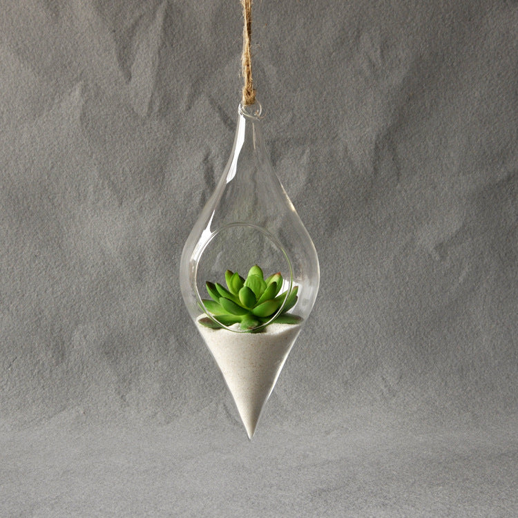 Clear Glass Long Shaped Hanging Vase - The MOJO