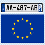 European flag and license plate