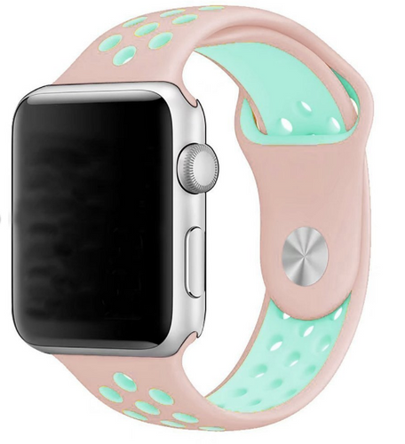 Active Silicon Apple Watch Band (Pink/Green)