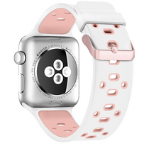 Active Silicone Apple Watch Band (Pink/White)