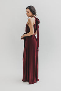 Fae Halter Neck Dress - Burgundy