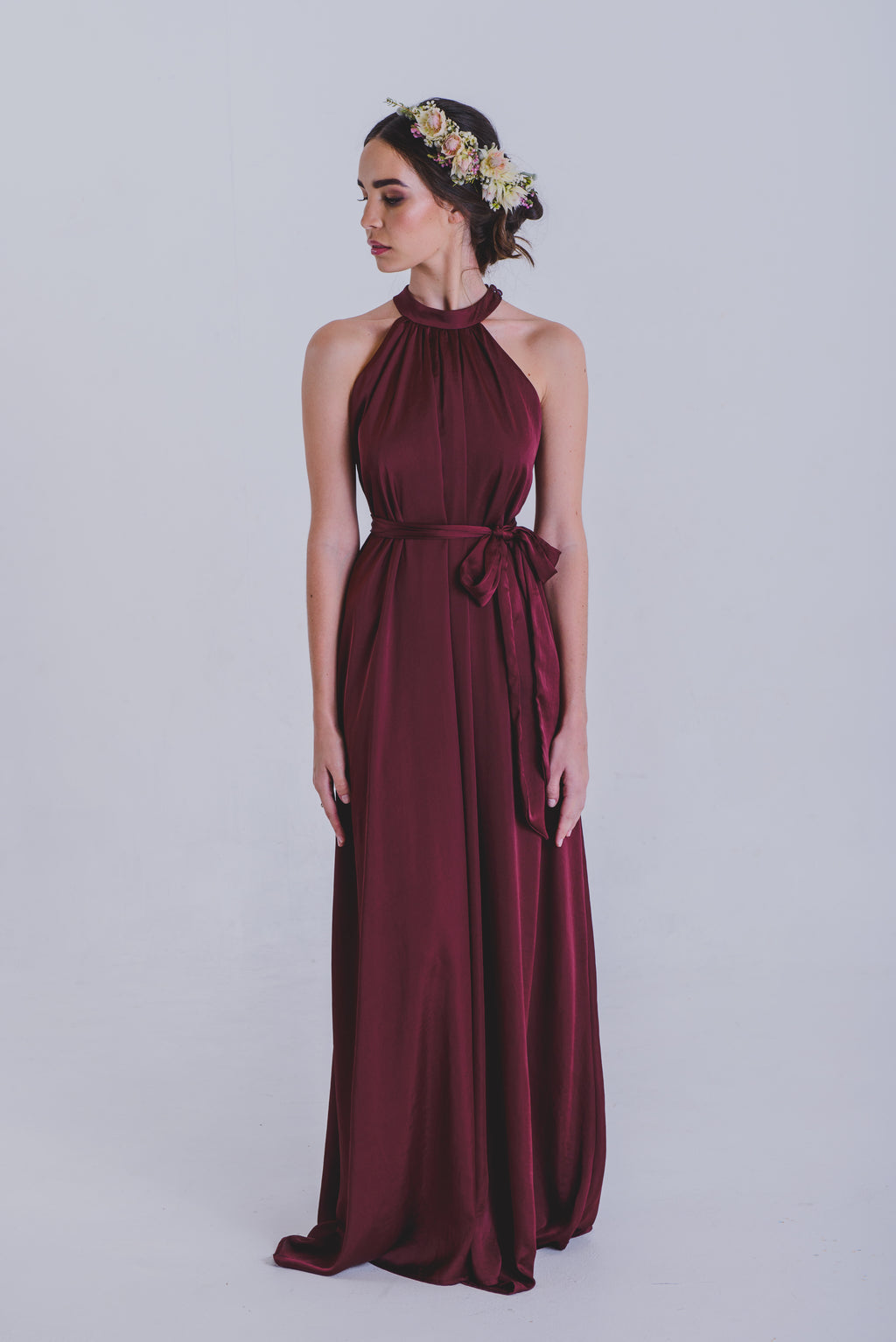 Erin Halter Neck Dress - Burgundy