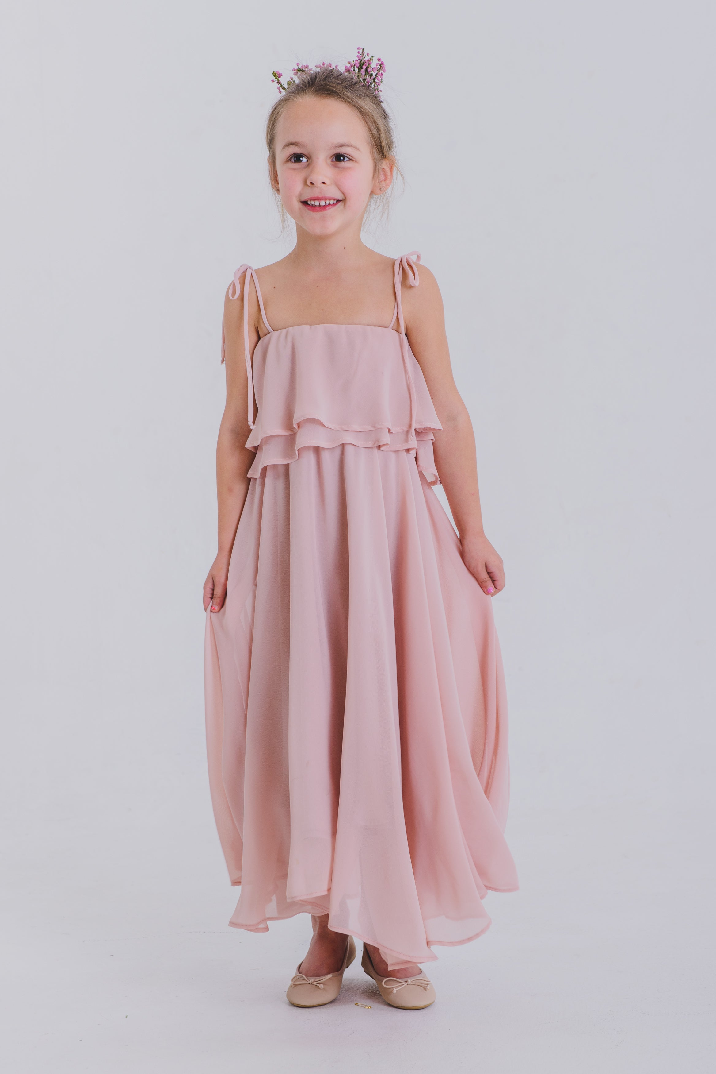 Annabel Girls Flounce Dress - Blush