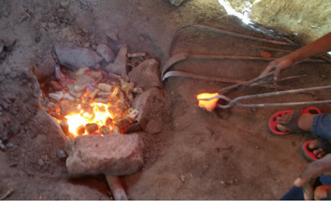 Ethiopian Coptic Cross Mould Being Fired
