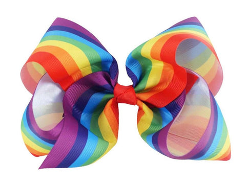 Rainbow Stripes Big Boutique Bow Clip
