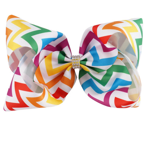 Chevron Rainbow Big Bow Clip