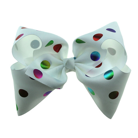 Spots on White Big Bow Clip