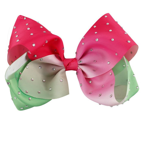 Ombre Rhinestone Big Boutique Bow Clip