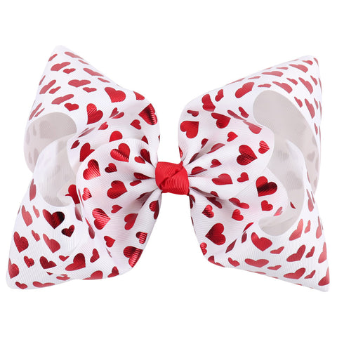 Red Hearts Big Bow Clip
