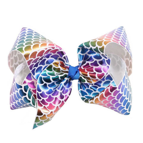 Mermaid Rainbow Big Bow Clip