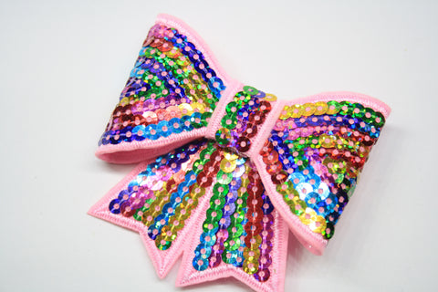 Glitter Sequin Bow on 5cm Alligator Clip. Various Colours.