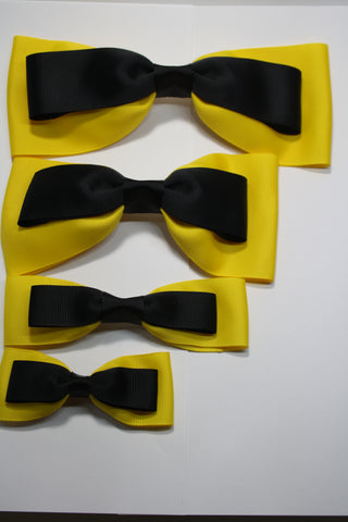 Black and Yellow Bow on Clip