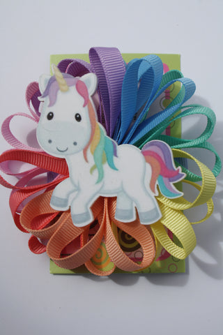 Unicorn Loopy Bow Clips.