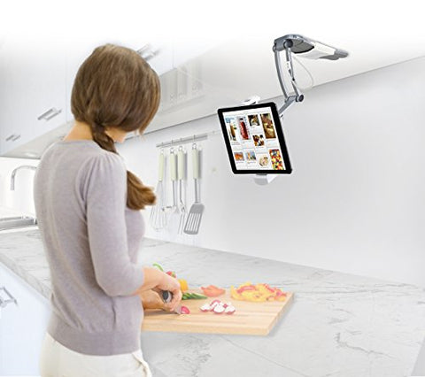 2-in-1 Kitchen Tablet Stand and Adjustable Wall Mount