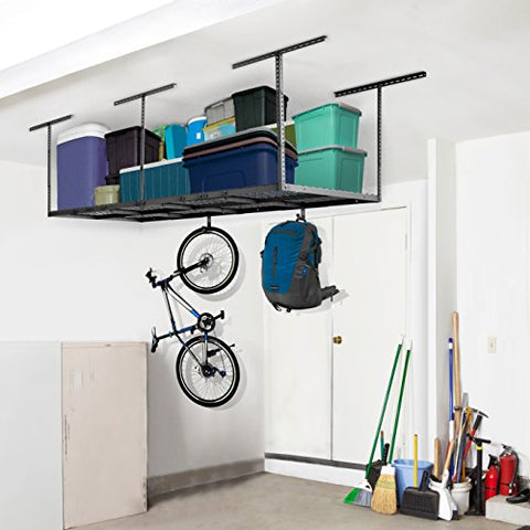 Out of space in the garage? Overhead Garage Rack with Add-on Hooks Set