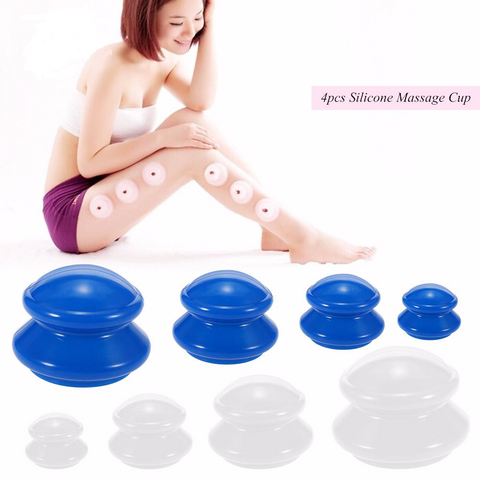Anti Cellulite Silicone Vacuum Cupping/Massage Therapy Cup - Set 4 Sizes