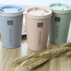 280ML Double-wall Insulation Wheat Fiber Straw Coffee Cup Travel Mug