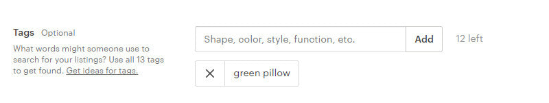 green pillow tag