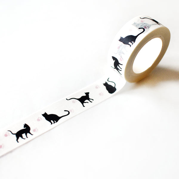 Black Cats And Pawprints Washi Tape