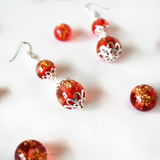 Red And Gold Leaf Earrings