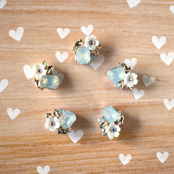 Gold and Opal Flower Magnets