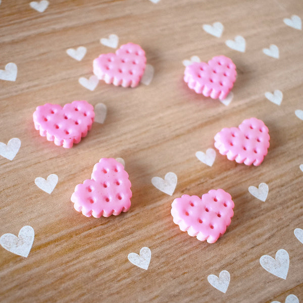 Pink Heart Cookie Magnets